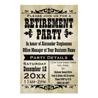 Wonderful Custom Vintage Country Retirement Party Invitation Flyer