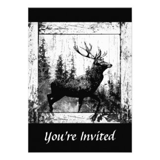 Custom Vintage Design Stag Bachelor Party Invite