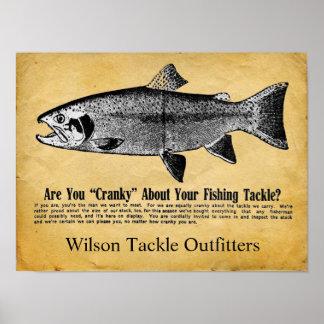 Custom Vintage Fishing Tackle Sign Poster