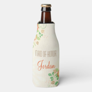 Custom Vintage Floral Maid of Honor Bottle Cooler