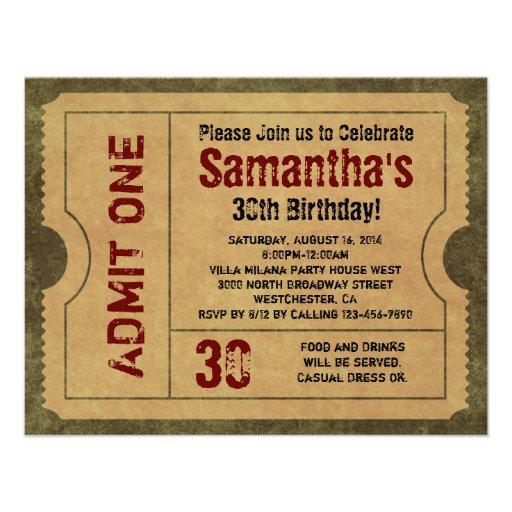 Custom Vintage Gold Admit One Ticket Invitations