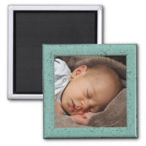 Custom Vintage Green Faux Wood Frame Magnet