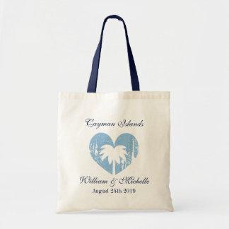 Custom vintage heart destination wedding tote bag