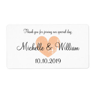 Custom vintage heart wedding water bottle labels