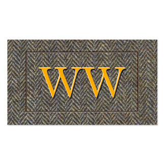 Custom Vintage Herringbone Tweed and Gold Monogram Double-Sided Standard Business Cards (Pack Of 100)