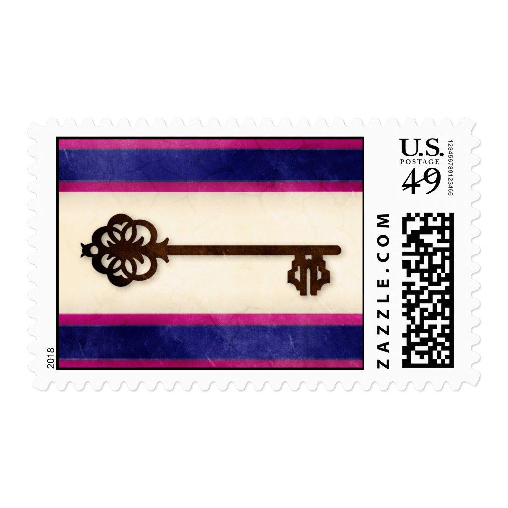 Custom Vintage Key Navy Blue & Fuchsia Wedding Postage Stamps