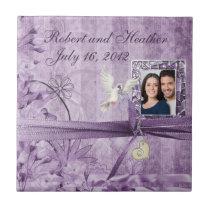 Custom Vintage Lavender Floral Wedding Coaster