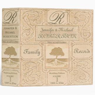 Custom Vintage Look Family Tree Wedding Album 3 Ring Binder