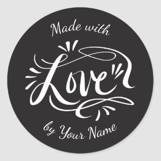 Custom vintage MADE WITH LOVE food party favor Classic Round Sticker