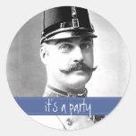 Custom Vintage Mustache / Moustache Party Classic Round Sticker