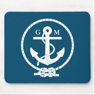 Custom Vintage Nautical Anchor and Line Mouse Pad