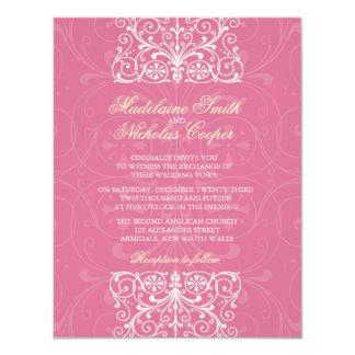 Custom vintage pale violet red isabelline wedding card
