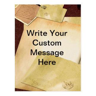 Custom Vintage Paper and Letters Postcard