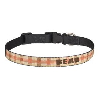 Custom Vintage Plaid Designed Dog Collar. Pet Collar