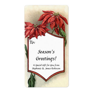 Custom Vintage Pointsettia Gift Tag Labels