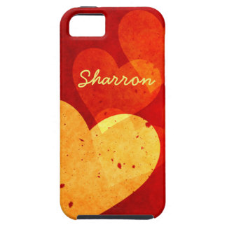 Custom Vintage Red and Yellow Hearts iPhone 5 Case