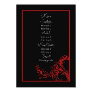 Custom Vintage Red Wedding Reception Dinner Menu Card