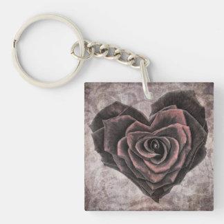 Custom vintage rose heart key tag keychain