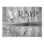 Custom Vintage Silver Wedding R.S.V.P. Postcard