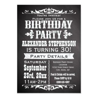Custom Vintage Slate Chalkboard Birthday Party 4.5x6.25 Paper Invitation Card