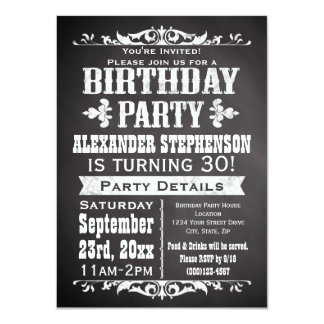 Custom Vintage Slate Chalkboard Birthday Party Card
