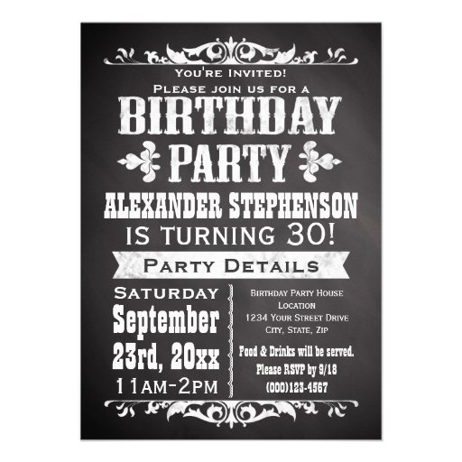 Custom Vintage Slate Chalkboard Birthday Party Custom Announcements
