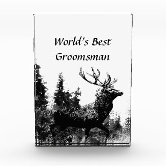 Custom Vintage Stag Deer World's Best Groomsman Acrylic Award