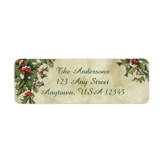 Custom Vintage Style Holly on Gold Background Label