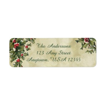 Christmas Themed Custom Vintage Style Holly on Gold Background Label