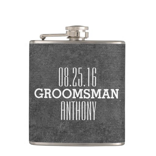 Custom Vintage Style Wedding Groomsman Flask Zazzle