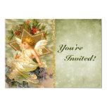 Custom Vintage Victorian Christmas Angel Holiday 5x7 Paper Invitation Card
