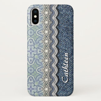 Custom Violet Mint Batik Mosaic Floral Pattern iPhone X Case