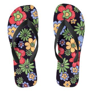 Custom Vivid Colorful Flowers Flip Flops