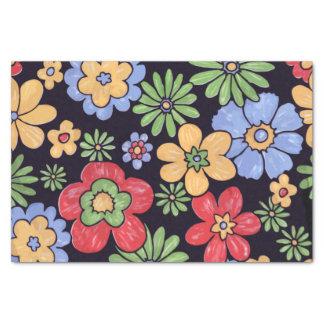 "Custom Vivid Colorful Flowers Pattern Print 10"" X 15"" Tissue Paper"