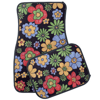 Custom Vivid Colorful Flowers Pattern Print Car Floor Mat
