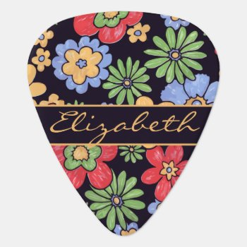 Custom Vivid Colorful Flowers To Personalize Guitar Pick by ironydesigns at Zazzle