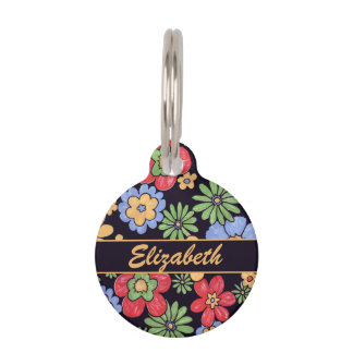 Custom Vivid Colorful Flowers to Personalize Pet Name Tag