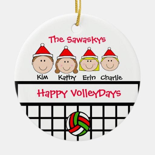 Custom Volleyball Family Holiday Ornament Zazzle