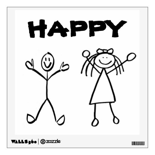 Custom wall decal stick figure happy room stickers zazzle for Pre stick wallpaper