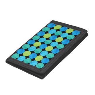 Custom Wallet, Blue Moons Grid Pattern on Black