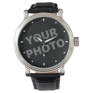 Custom Watch Your Image With Modern Time Markers at Zazzle
