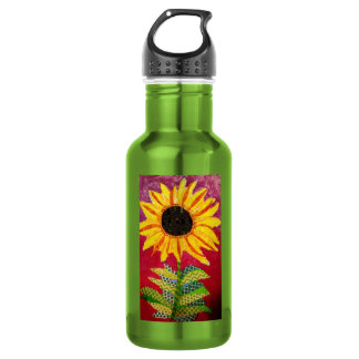 Custom Water Bottle with Cool Sunflower