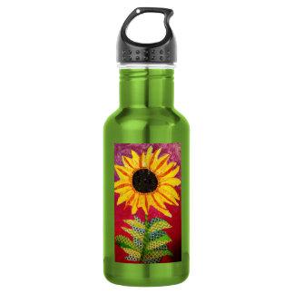 Custom Water Bottle with Cool Sunflower 18oz Water Bottle