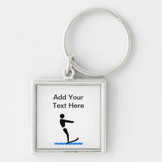 Custom Water Skiing Silver-Colored Square Keychain