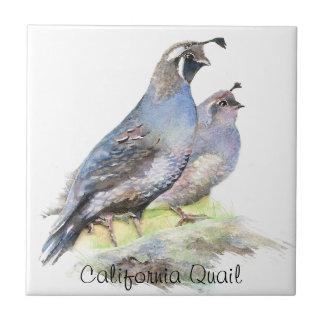 Custom Watercolor California Quail birds Small Square Tile