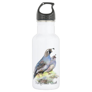 Custom Watercolor California Quail birds Water Bottle