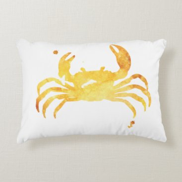 Beach Themed Custom watercolor crab accent pillow