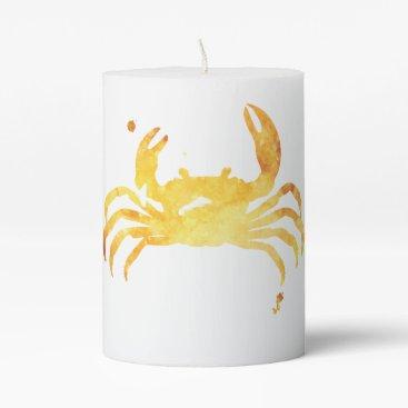 Beach Themed Custom watercolor crab pillar candle