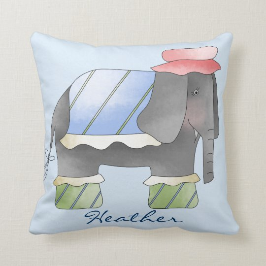 Custom Watercolor Elephant Throw Pillow