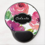 Custom Watercolor Floral Pattern Gel Mouse Pad<br><div class='desc'>A beautifully feminine watercolor floral pattern mouse pad in shades of pink and purple embellished with a custom name. Replace the sample name shown in the design template with your name,  monogram or other text. To change the font,  font size,  or font color,  choose the &quot;customize it&quot; button.</div>